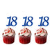 18th glitter cupcake toppers dark blue