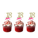 18th glitter cupcake toppers gold and hot pink