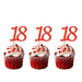 18th glitter cupcake toppers red