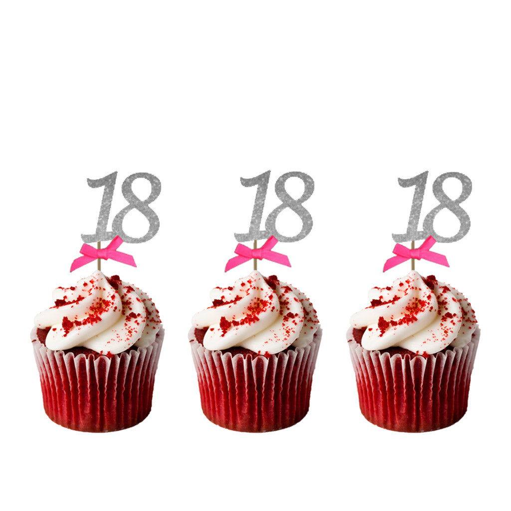18th glitter cupcake toppers silver and hot pink