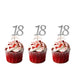 18th glitter cupcake toppers silver and light pink