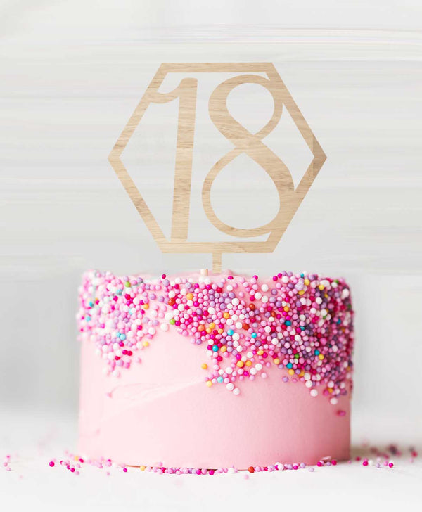 Number 18 Hexagon Wood Cake Topper