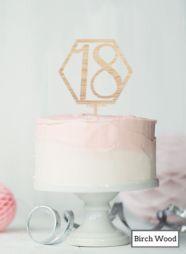 Hexagon 18th Birthday Cake Topper Premium 3mm Birch Wood