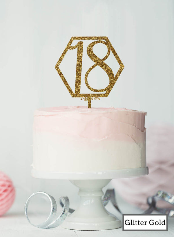 Hexagon 18th Birthday Cake Topper Premium 3mm Acrylic Glitter Gold