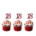 18th glitter cupcake toppers dark pink