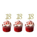 18th glitter cupcake toppers gold