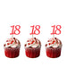 18th glitter cupcake toppers light pink