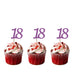 18th glitter cupcake toppers light purple