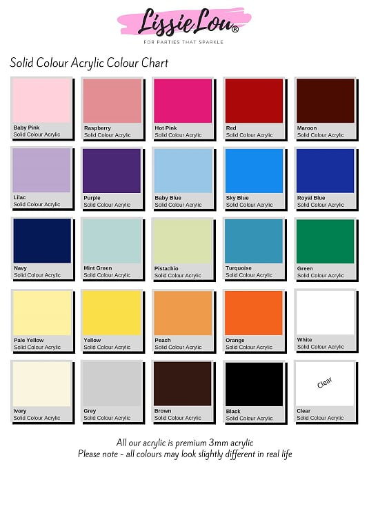 Solid Colour Acrylic Colour Chart
