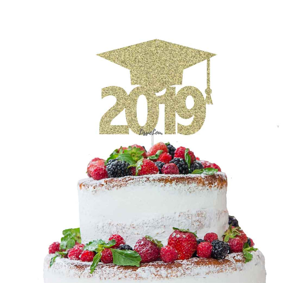 Graduation Hat 2019 Cake Topper Cake Topper Glitter Card Gold