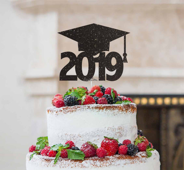Graduation Hat 2019 Cake Topper Cake Topper Glitter Card Black