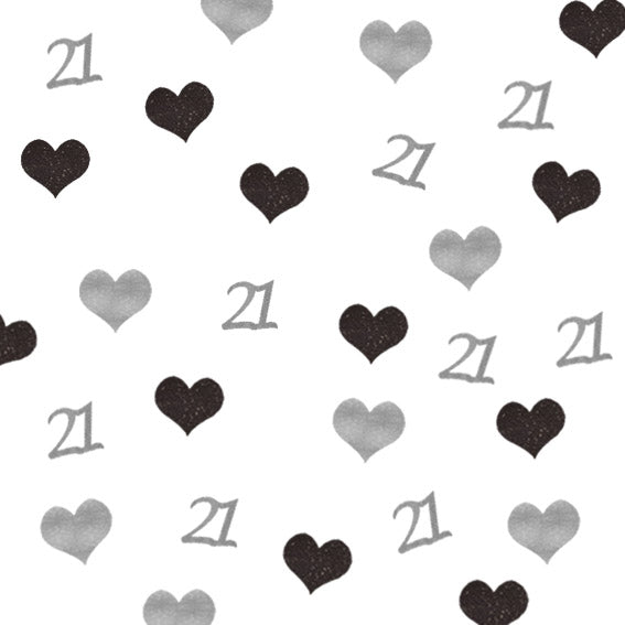 21st Birthday Glitter Heart Table Confetti Silver and Black
