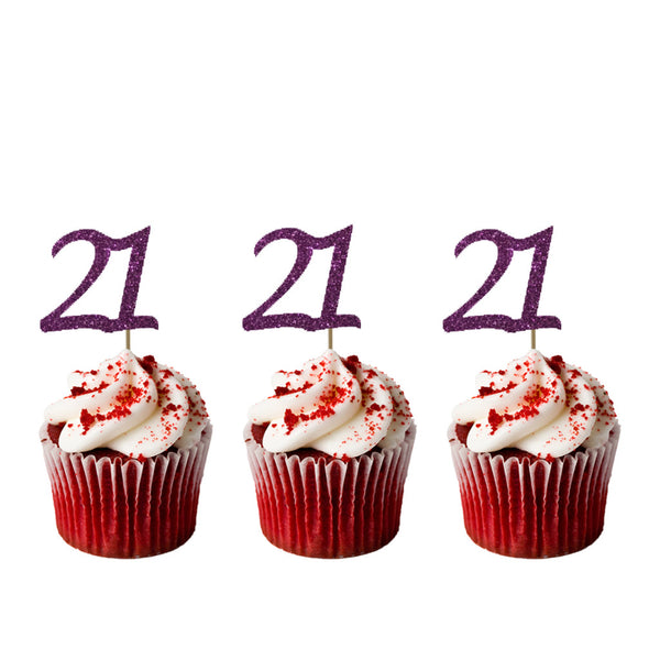 21st Birthday Glitter Cupcake Toppers Dark Purple