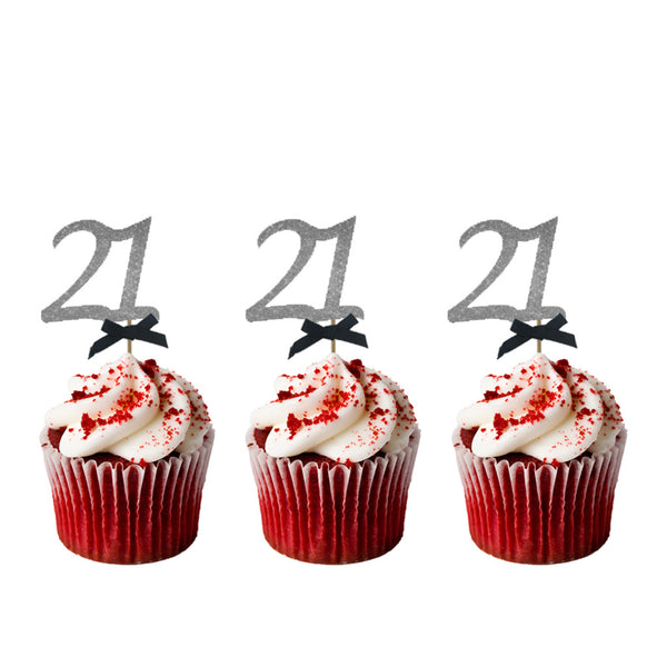 21st Glitter Cupcake Toppers Silver and Black