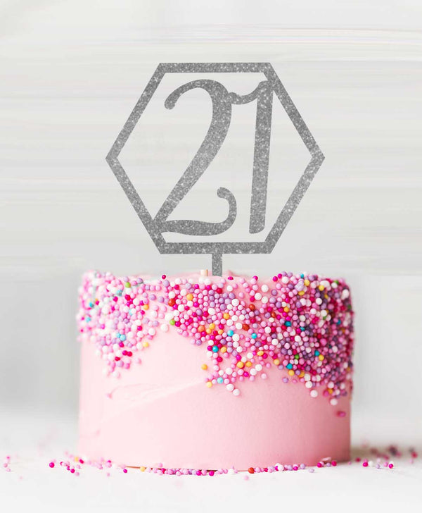 Hexagon Number 21 Acrylic Cake Topper Glitter Silver