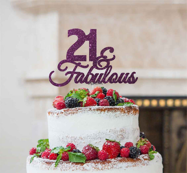 21 & Fabulous Cake Topper 21st Birthday Glitter Card Dark Purple