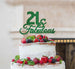 21 & Fabulous Cake Topper 21st Birthday Glitter Card Green
