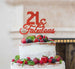 21 & Fabulous Cake Topper 21st Birthday Glitter Card Red