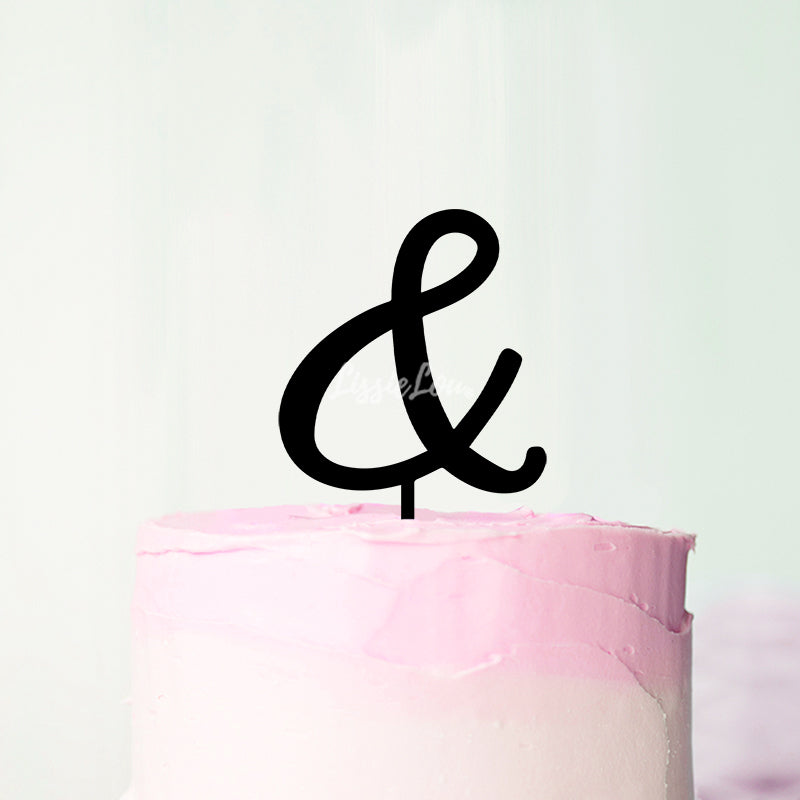 Wedding Initial Letter Ampersand Style Acrylic Cake Topper