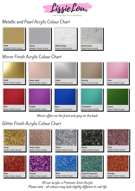Acrylic Colour Chart - Metallic, Mirror, and Glitter