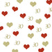 30th Birthday Glitter Table Confetti Hearts Gold and Red