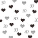 30th Birthday Glitter Table Confetti Hearts Silver and Black
