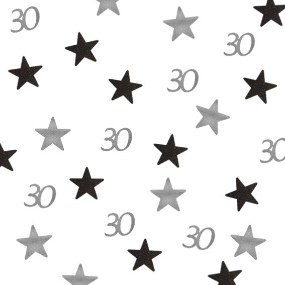 30th Birthday Glitter Table Confetti Star Silver and Black
