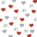 30th Birthday Glitter Table Confetti Hearts Silver and Red