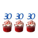 30th glitter cupcake toppers dark blue