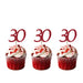 30th glitter cupcake toppers dark pink