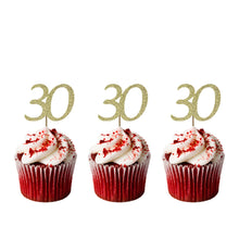 30th Birthday Cupcake Toppers - Glitter Gold - Pack of 10