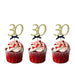 30th Birthday Glitter Cupcake Toppers Gold and Black