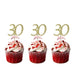 30th Birthday Glitter Cupcake Toppers Gold and Light Pink