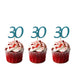 30th glitter cupcake toppers light blue