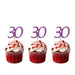 30th glitter cupcake toppers light purple