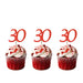 30th glitter cupcake toppers red