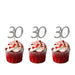 30th glitter cupcake toppers silver