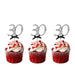 30th Birthday Glitter Cupcake Toppers Silver and Black