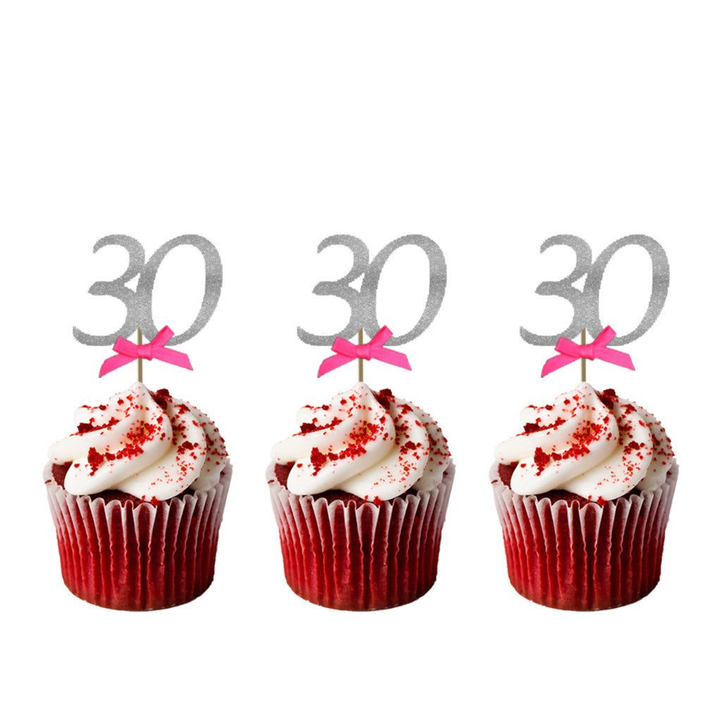 30th Birthday Glitter Cupcake Toppers Silver and Hot Pink