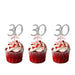 30th Birthday Glitter Cupcake Toppers Silver and Light Pink