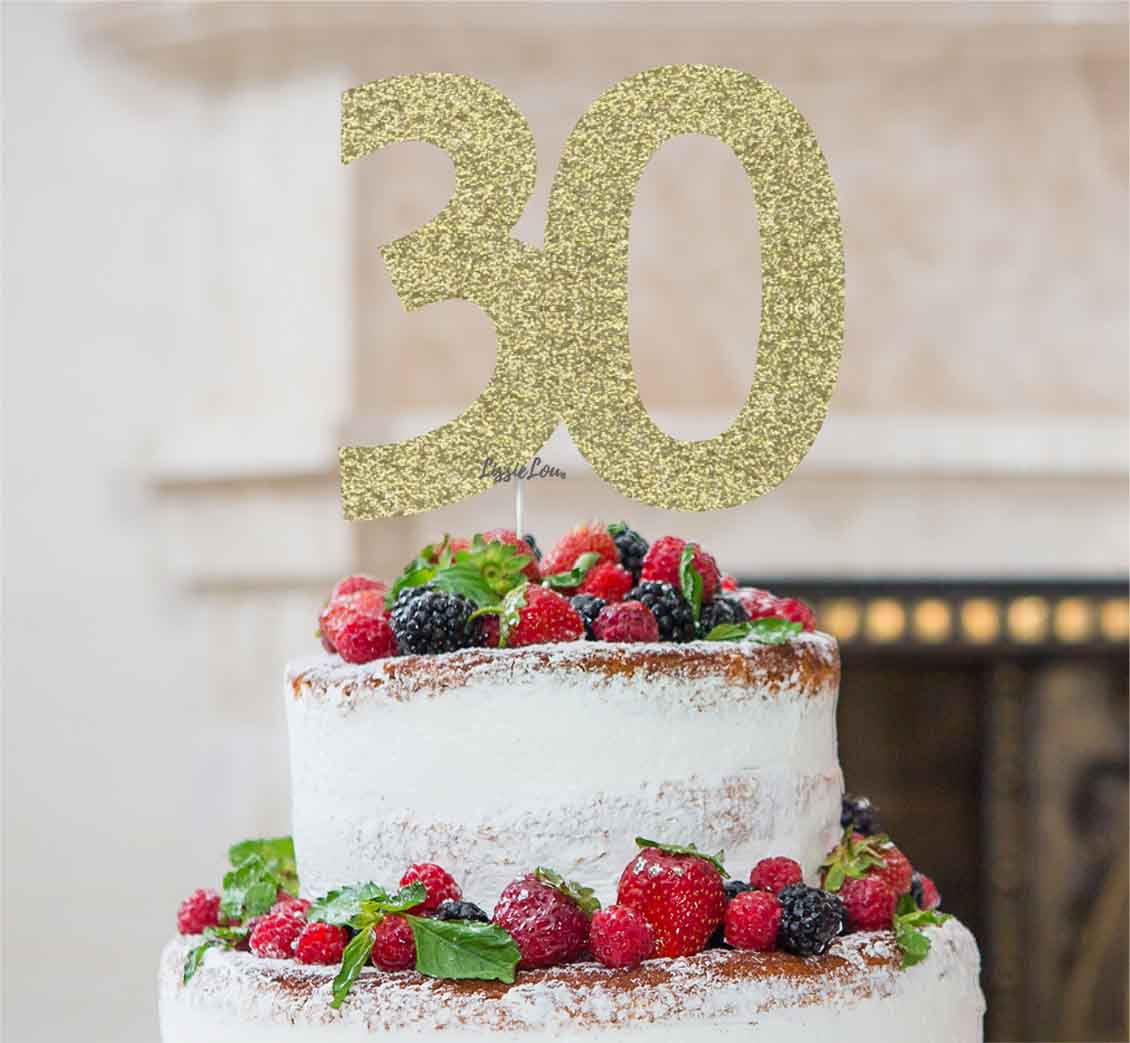 30th Birthday Cake Topper Glitter Card Gold