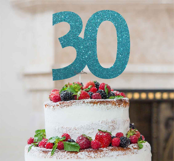 30th Birthday Cake Topper - Glitter Card Light Blue