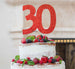 30th Birthday Cake Topper Glitter Card Red