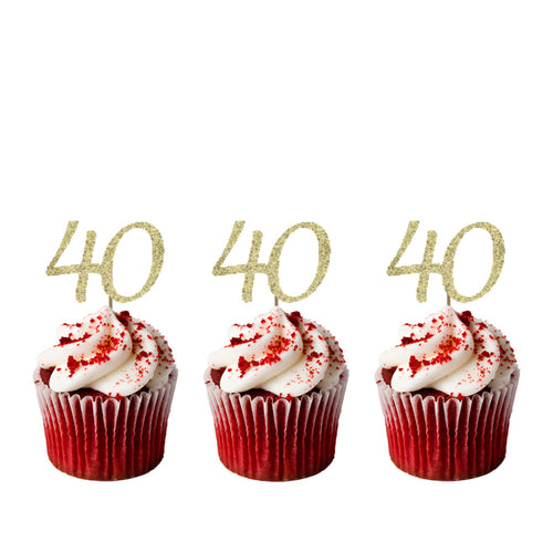 40th Birthday Cupcake Toppers - Glitter Gold - Pack of 10