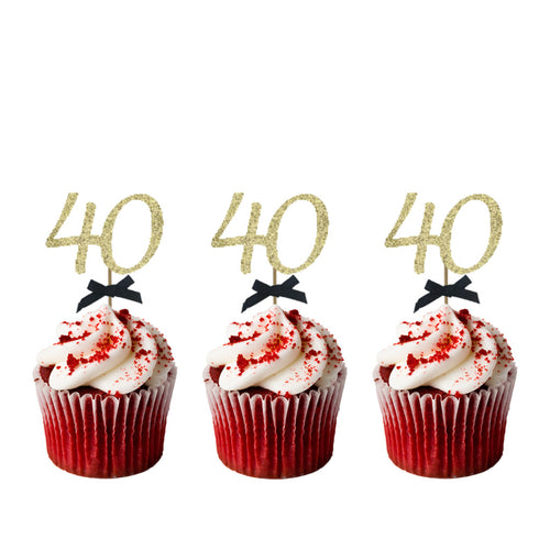 40th Birthday Cupcake Toppers with Bows - Glitter Gold with Black Bows