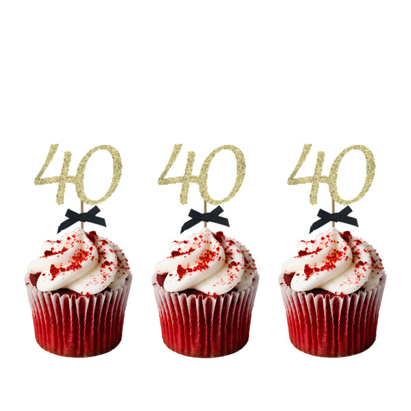 40th Birthday Glitter Cupcake Toppers Gold with Black Bows