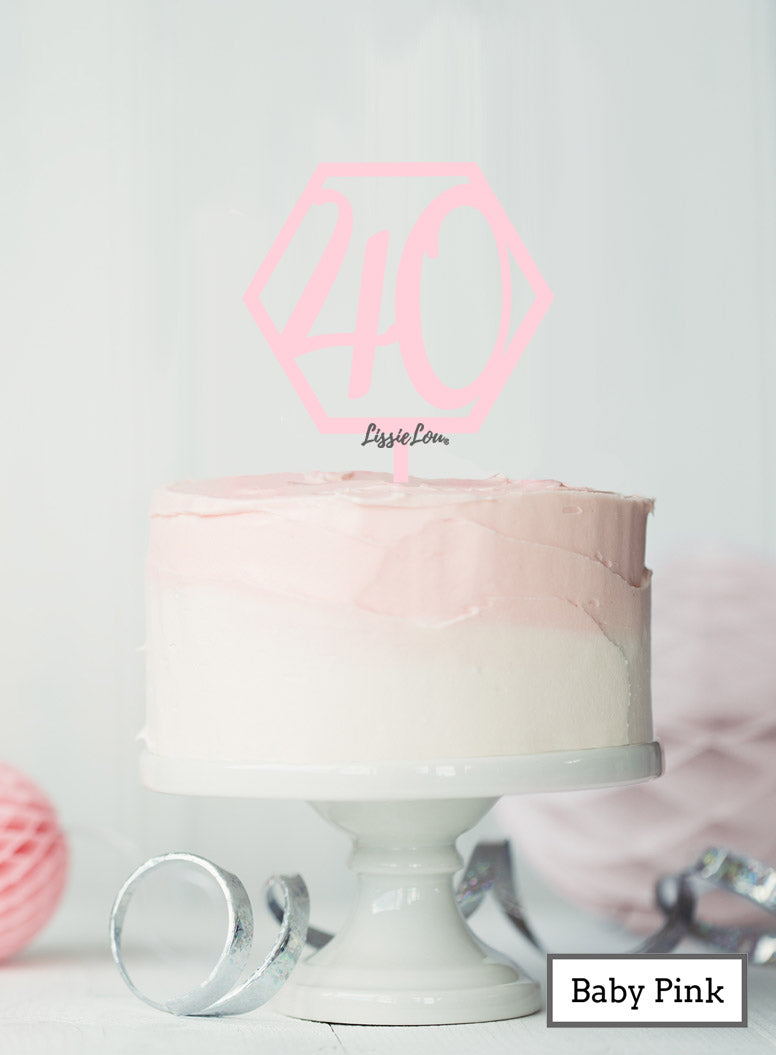 Hexagon 40th Birthday Cake Topper Premium 3mm Acrylic Baby Pink