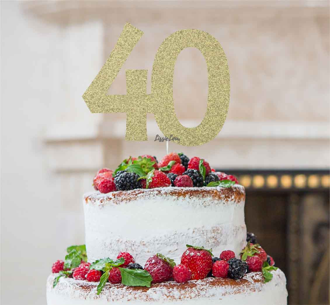 40th Birthday Cake Topper Glitter Card Gold