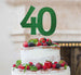 40th Birthday Cake Topper Glitter Card Green