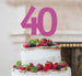 40th Birthday Cake Topper Glitter Card Hot Pink